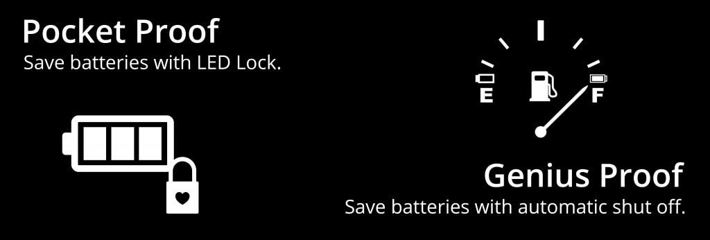 Save batteries with LED Lock and automatic shut off.